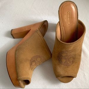 Coach suede leather clogs
